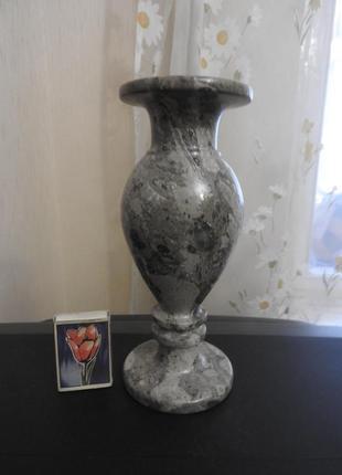 Ваза каменная серый камень 20х8 см 1 кг ваза кам'яна сірий камінь