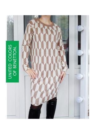 United colors of benetton теплое платье миди с примесью шерсти