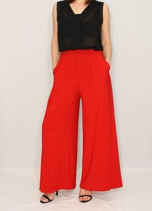 Новые качественные штаны палаццо классического кораллово красного цвета