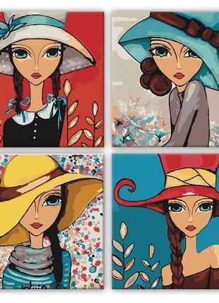 Набор для росписи по номерам полиптих яркие девочки knp013