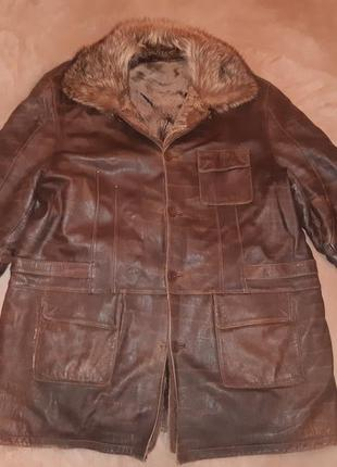 Натуральная зимняя куртка на овчине большого размера (2х-3х)
