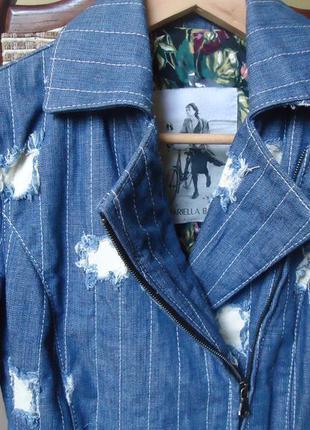 Шикарная брендовая джинсовая куртка с кожаными латками ( mariella burani )