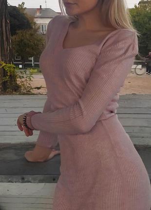 Платье miara с длинным рукавом в рубчик с люрексовой нитью