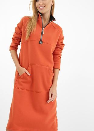 Теплое платье из тринитки с начесом