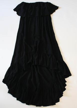 Штапельное каскадное платье без брителей
