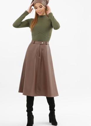 Элегантная женская юбка клеш из эко кожи на флисе