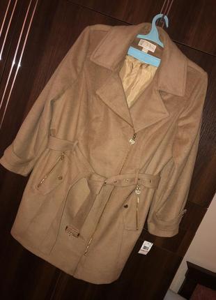 Демисезонное шерстяное пальто батал  michael cors