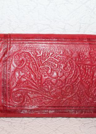 Большой кожаный кошелёк портмоне с тиснением