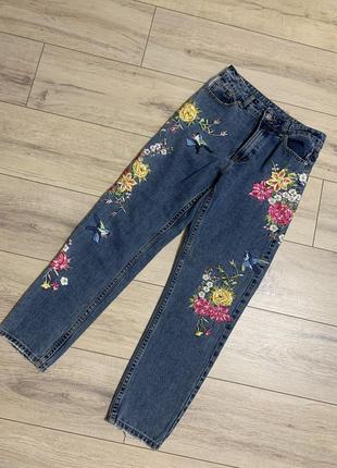 Стильные женские джинсы denim с вышивкой, р. s.