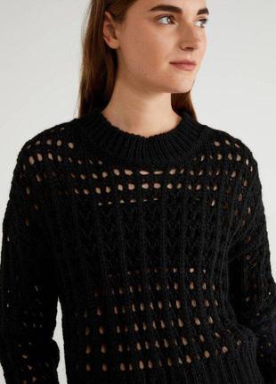Длинный черный вязанный свитер united colors of benetton крупная вязка