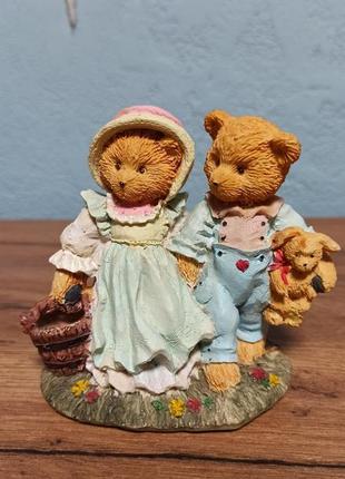 Мини статуэтка cherished teddies, медвежата на прогулке. винтаж 80-90-е годы.