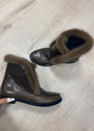 Лоферы с итальянской кожи мех норка завышенные зимние осенние кожаные ботинки