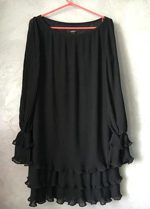 Чёрное платье плиссе (mango) при покупке + 1 вещь в подарок
