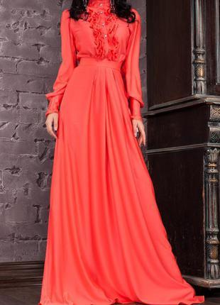 Очень красивое вечернее выпускное платье в пол кораллового цвета