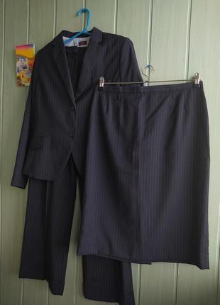 Стильный деловой костюм пиджак, юбка карандаш и брюки