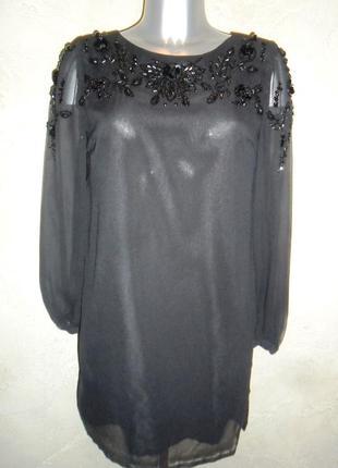 Шикарное шифоновое ровное черное  с вышивкой бисером платье s-m 10