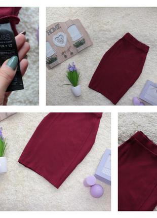 Стильная трикотажная юбка миди на резинке цвета бордо