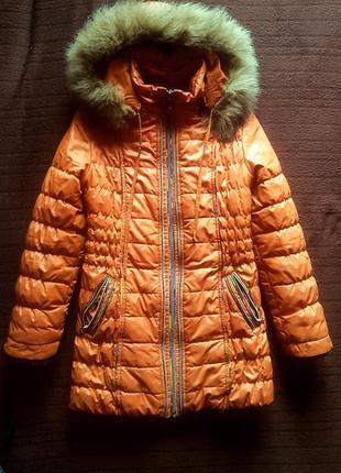 Удлиненная куртка холодная осень/еврозима 9-10лет