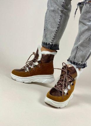 Зимние замшевые ботинки, угги, на меху, корричневые, на шнурках, р. 36-41