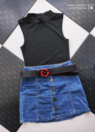 Топ джинсовая юбка ремень в комплекте