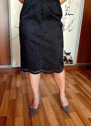 Новая красивейшая хлопковая юбка-карандаш с шитьем