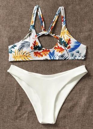 Купальник в рослинний принт, купальник 2020, купальник жіночий на літо.