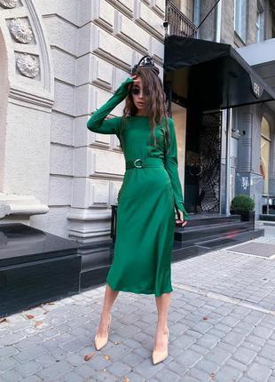 Шёлковое платье с пояском