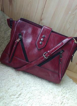 Шикарная сумка zara,atmosphere, кожаная, экокожа, красного, марсала, винного цвета, бордо