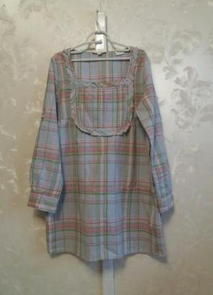 Платье свободного силуэта из хлопка со льном