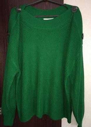 Вязанный свитер с роговыми пуговицами оверсайз свободный зелёный