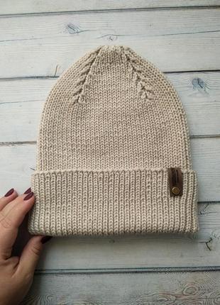 Хит сезона! шапка вязаная из мериноса ручной работы, шапка женская вязаная