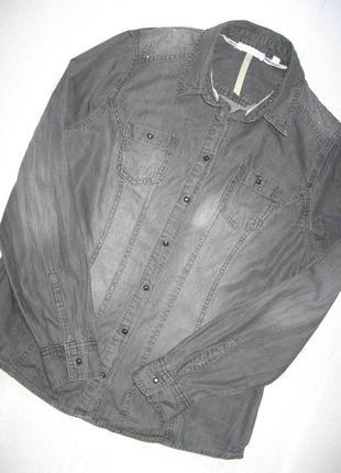 Черная выбеленная приталенная  джинсовая рубашка charles-vogele