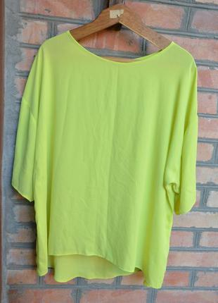 Шифоновая блуза, футболка лаймового цвета