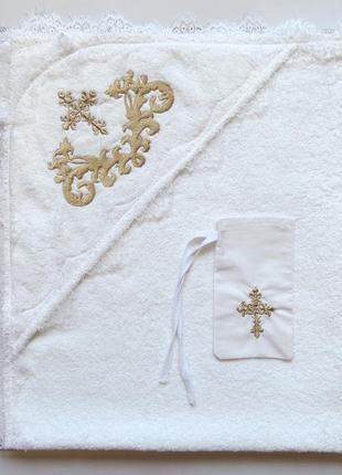 Крыжма для крещения махровая 80 * 90 см  с мешочком для волос