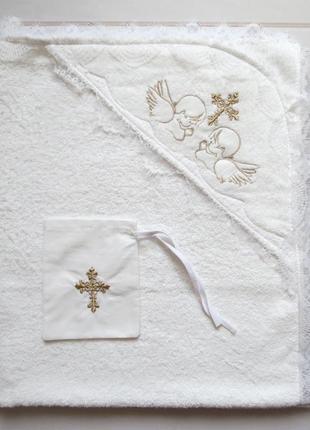 Крыжма для крещения махровая 80*90 см с мешочком для волос
