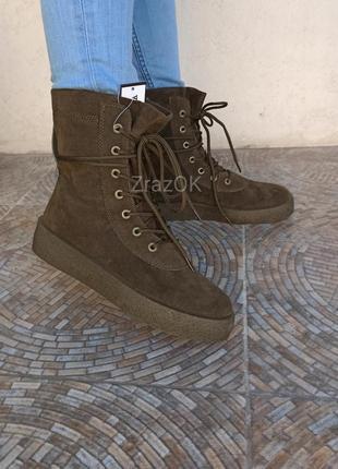 Высокие ботинки кеды кроссовки хаки
