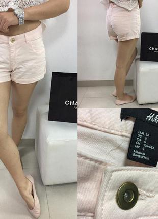 Нежно-розовые шортики под джинс h&m