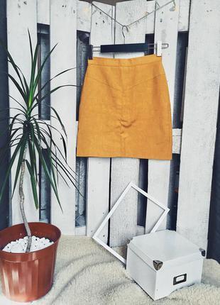 Льняная юбка на высокой посадке