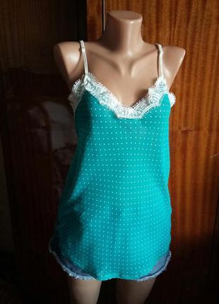 Трэндовая маечка/майка/блуза в больевом стиле с кружевом марки ann christine не zara h&m