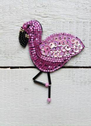 Брошь розовый фламинго,  ручная работа,  бисер