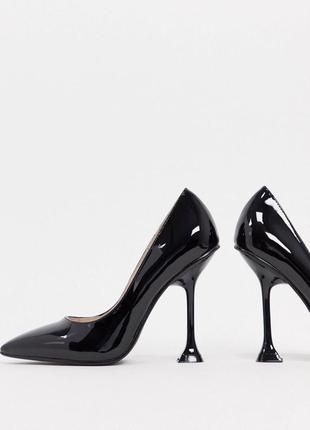 Черные туфли лодочки виниловые raid