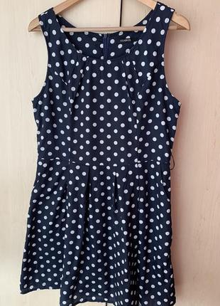 Стильное синее платье в белый горох от izabel