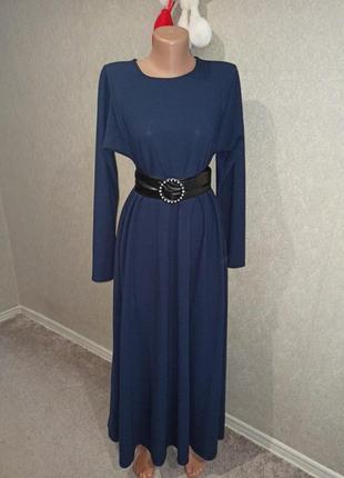 Платье в пол с карманами m