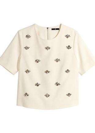 Трэндовая кофточка/блуза кроп топ/топ с камнями h&m