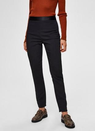 Черные брюки с атласным поясом selected femme