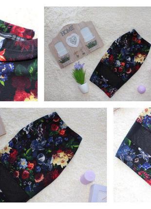 Фактурная юбка миди в цветочный принт с сеточкой
