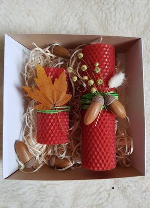 Осенний набор эко свечей из вощины из натурального воска лучший подарок
