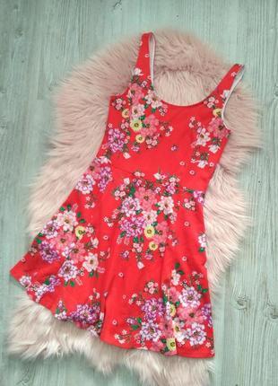 Цветочное красное платье мини от h&m