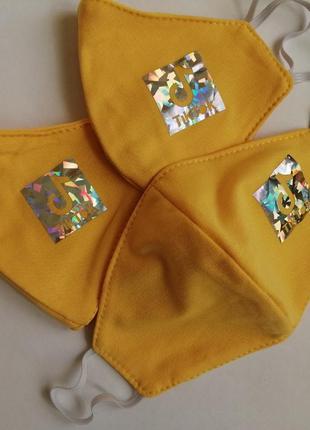 Многоразовые двухслойные трикотажные маски для лица от 6 до 12 лет