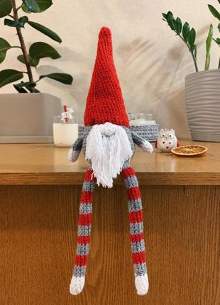 Скандинавский новогодний гном ручной работы для декора помещения